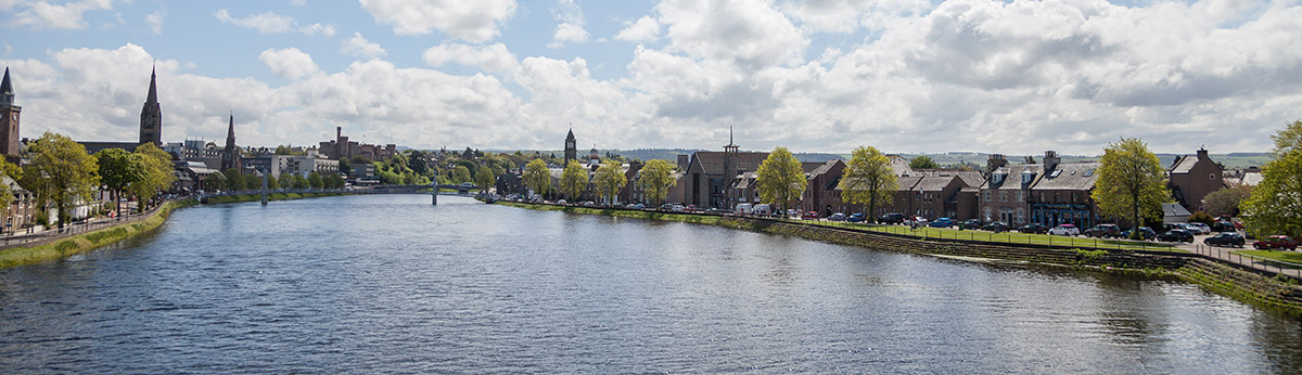 Wide angled picture of Inverness and the river Ness