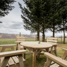 Garden furniture in your private and enclosed garden with stunning views