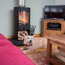 Emma, our dog, enjoys the log burner